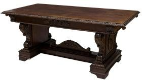 RENAISSANCE REVIVAL HEAVILY CARVED DINING TABLE