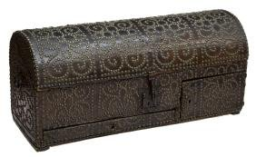 SPANISH BAROQUE LEATHER WRAPPED TRAVELING TRUNK