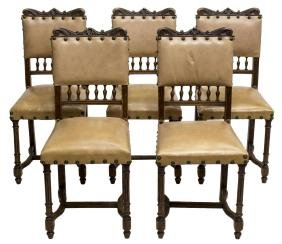 (5) FRENCH CARVED OAK HENRI II LEATHER SIDE CHAIRS