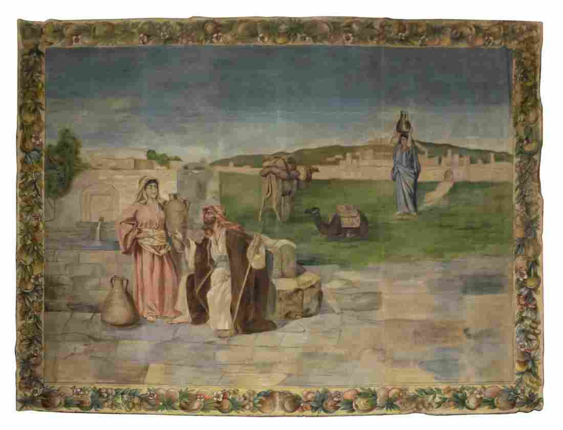 LARGE CONTINENTAL PAINTED REIGIOUS WALL TAPESTRY