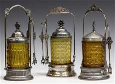 3 ANTIQUE SILVERPLATE AMBER GLASS PICKLE CASTORS