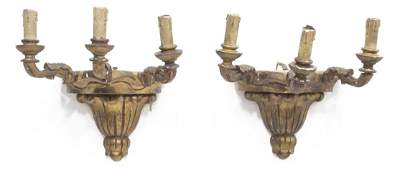 (2)LOUIS XVI STYLE CARVED GILTWOOD 3-LIGHT SCONCES