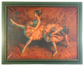 """Oil On Canvas Signed V. Moya, 23"""" X 31"""" """"study Of Two"""