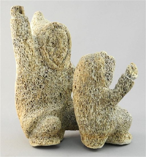 Inuit Whale Bone Carved Figure Group Parent And Oct 24 2017 Lunds Auctioneers Appraisers Ltd In Canada