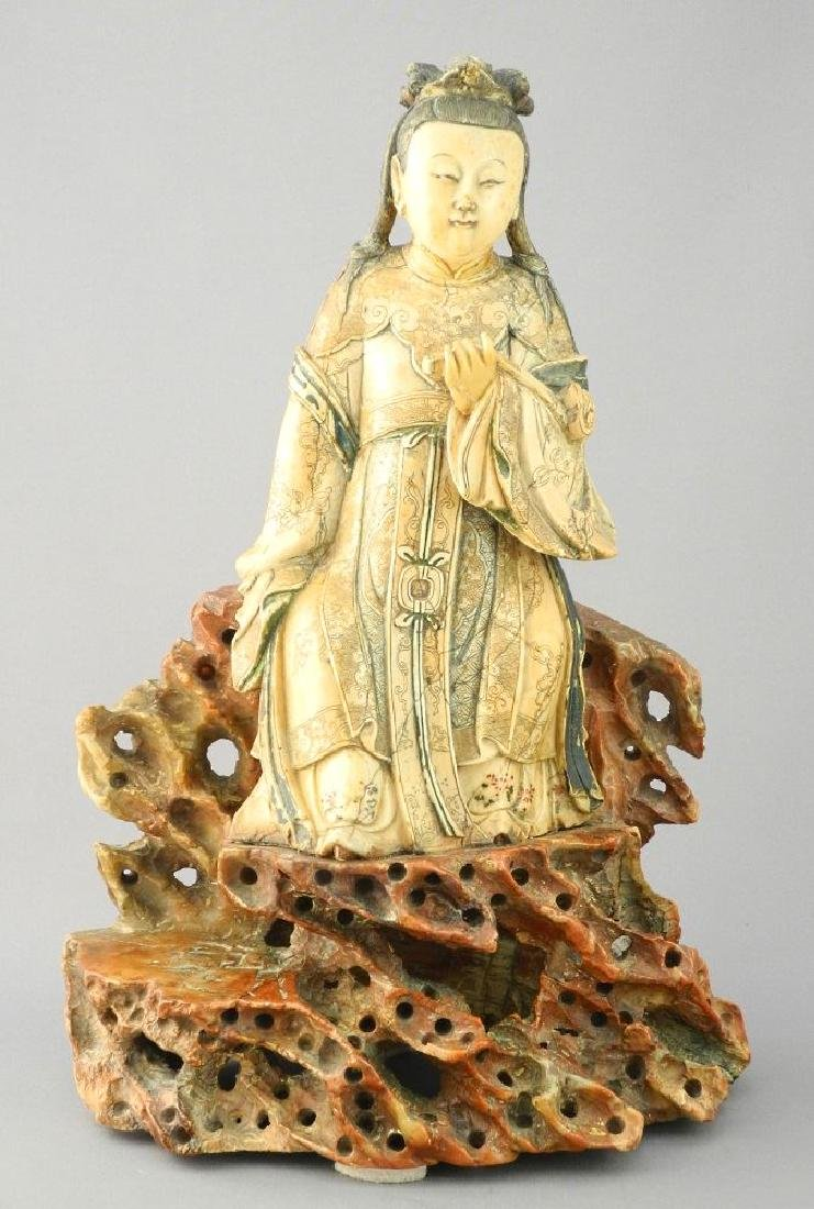 "18th Century Steatite figure, ""Guanyin"", 11 1/2""."