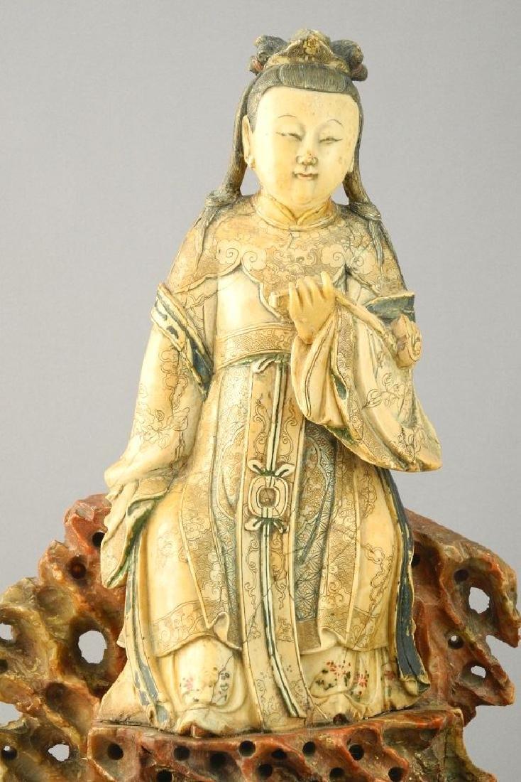 "18th Century Steatite figure, ""Guanyin"", 11 1/2"". - 2"