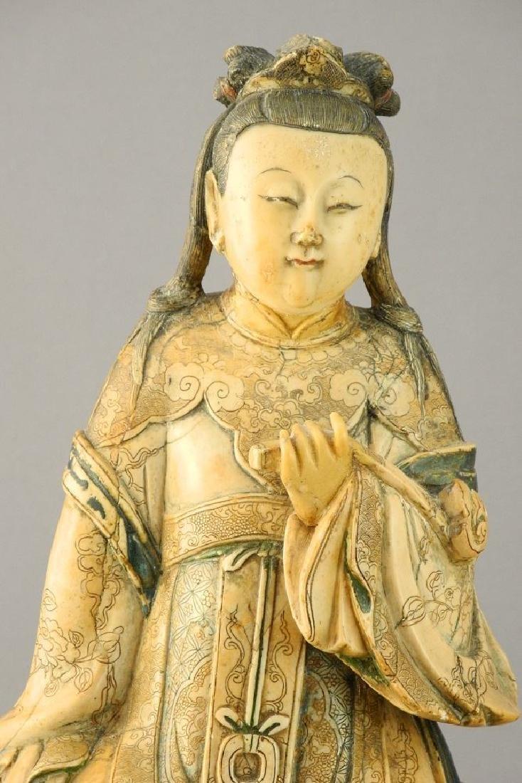 "18th Century Steatite figure, ""Guanyin"", 11 1/2"". - 3"