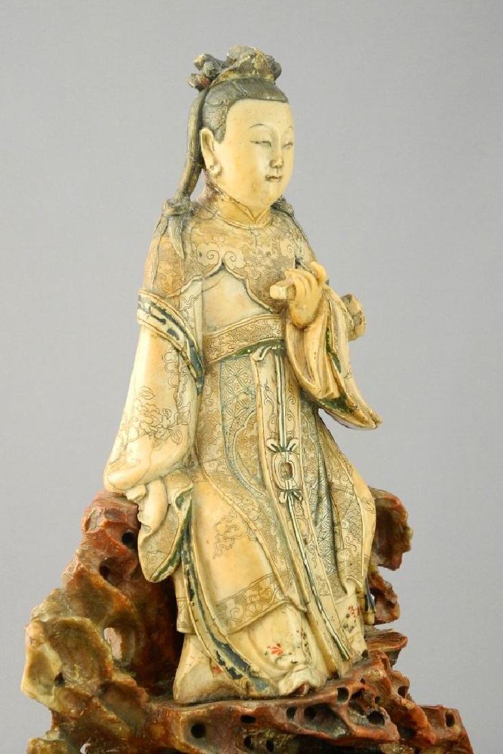 "18th Century Steatite figure, ""Guanyin"", 11 1/2"". - 4"