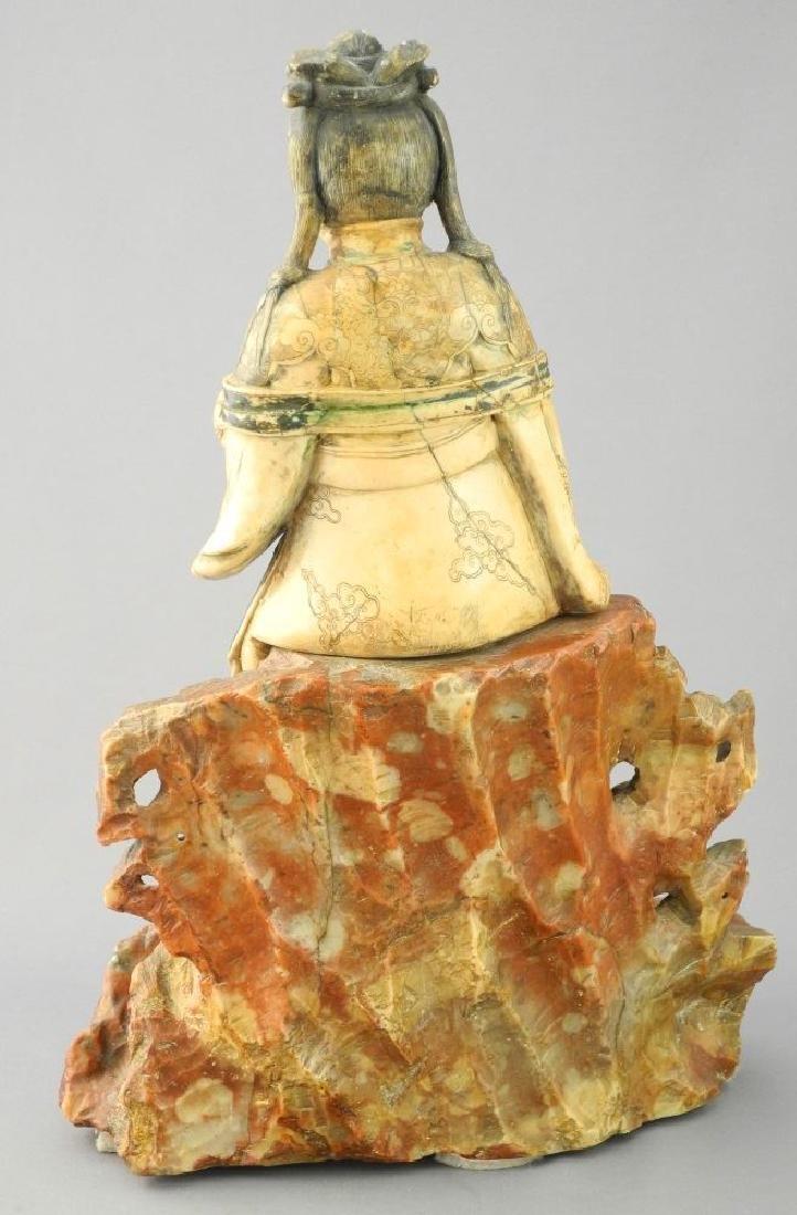 "18th Century Steatite figure, ""Guanyin"", 11 1/2"". - 6"