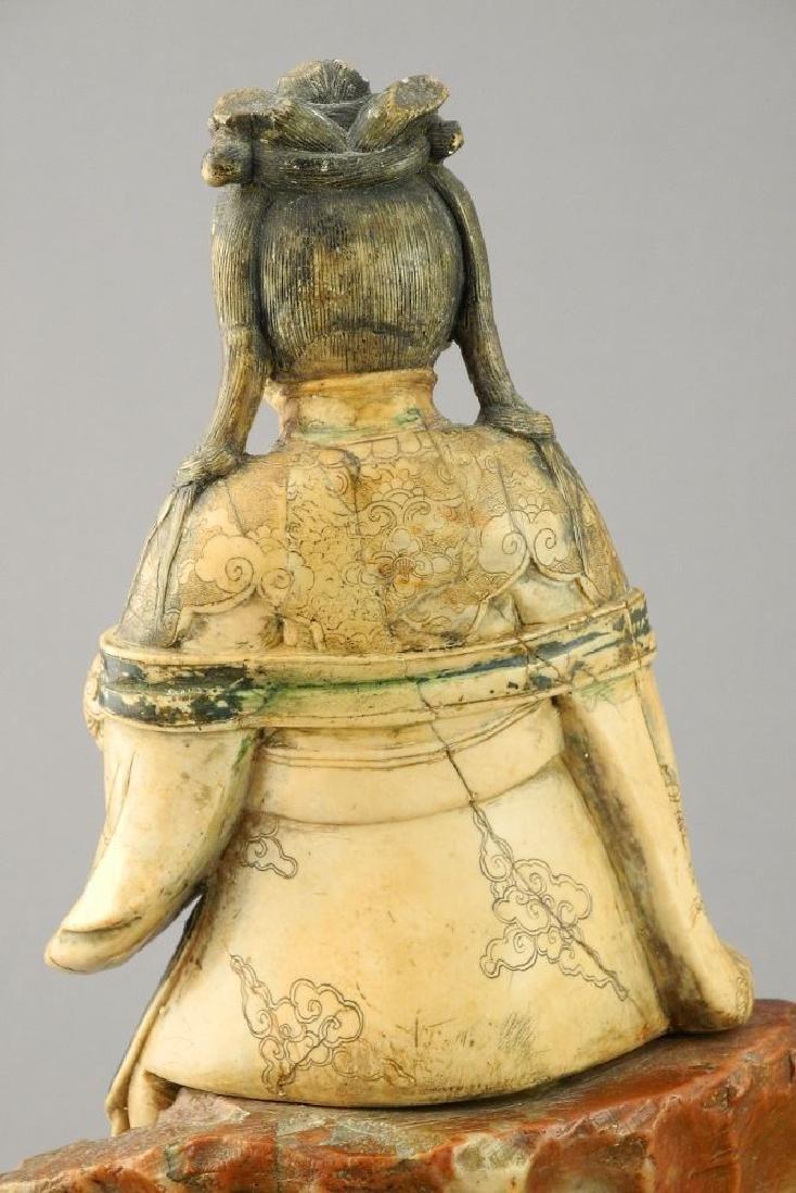 "18th Century Steatite figure, ""Guanyin"", 11 1/2"". - 7"