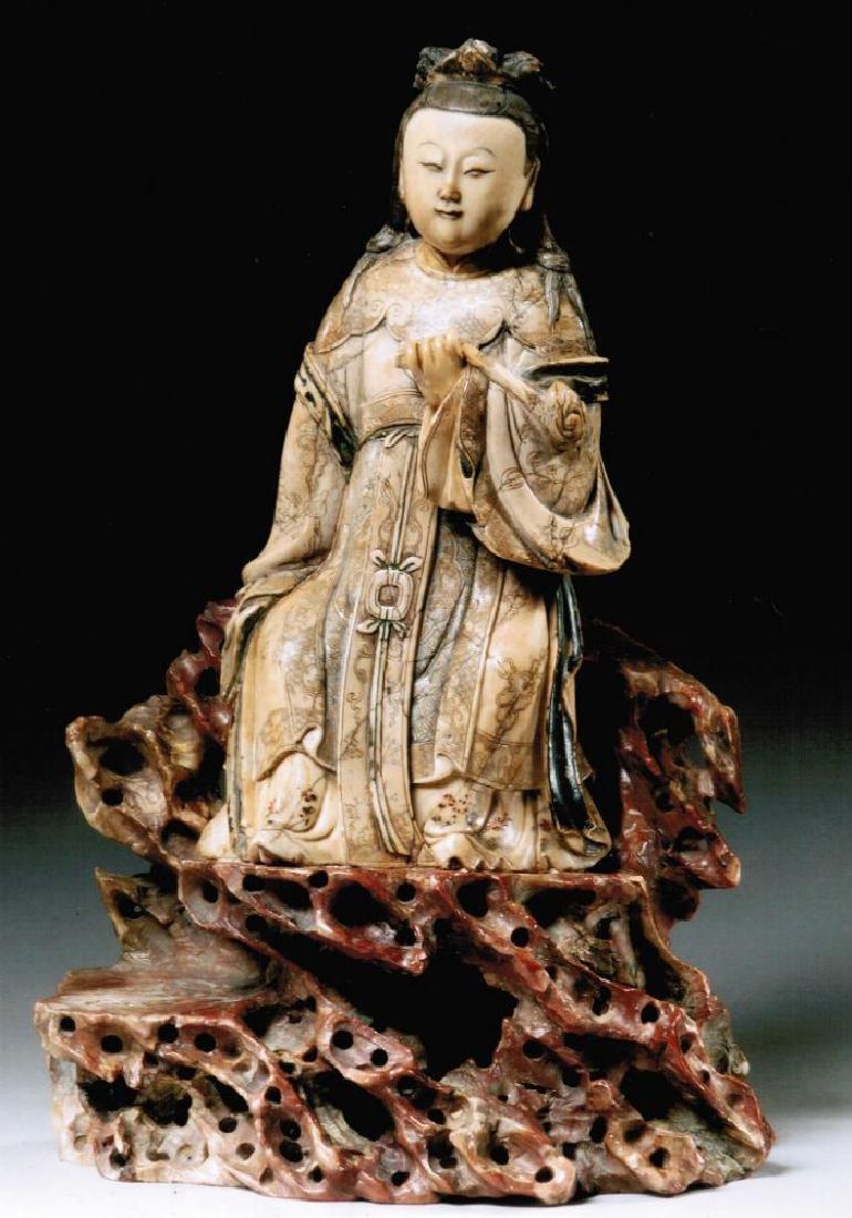 "18th Century Steatite figure, ""Guanyin"", 11 1/2"". - 8"