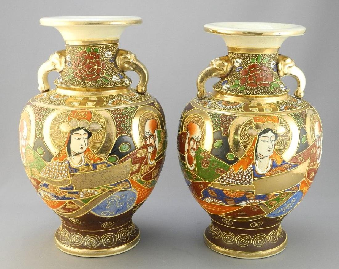 "Pair of Satsuma export two-handled vases, 10 1/4"" in"