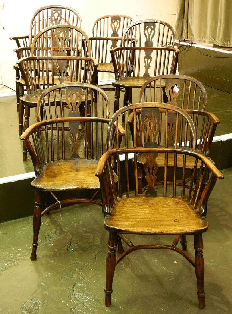 Fine harlequin set of eight 18th century yew and elm