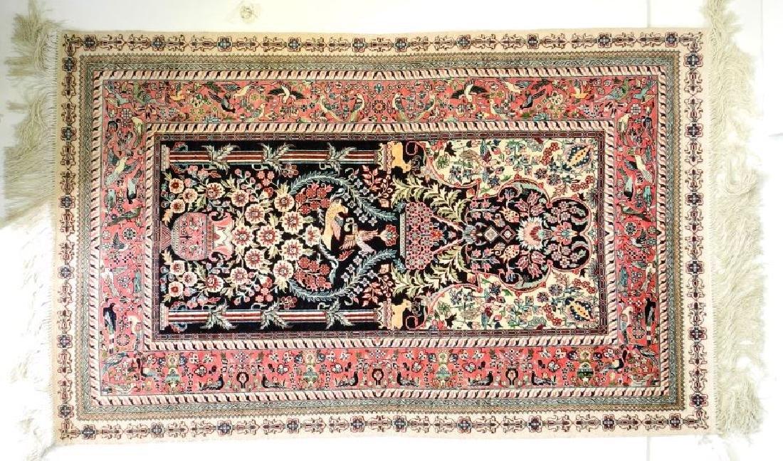 "Asian silk prayer rug, approx. 4'1"" x 2'6""."