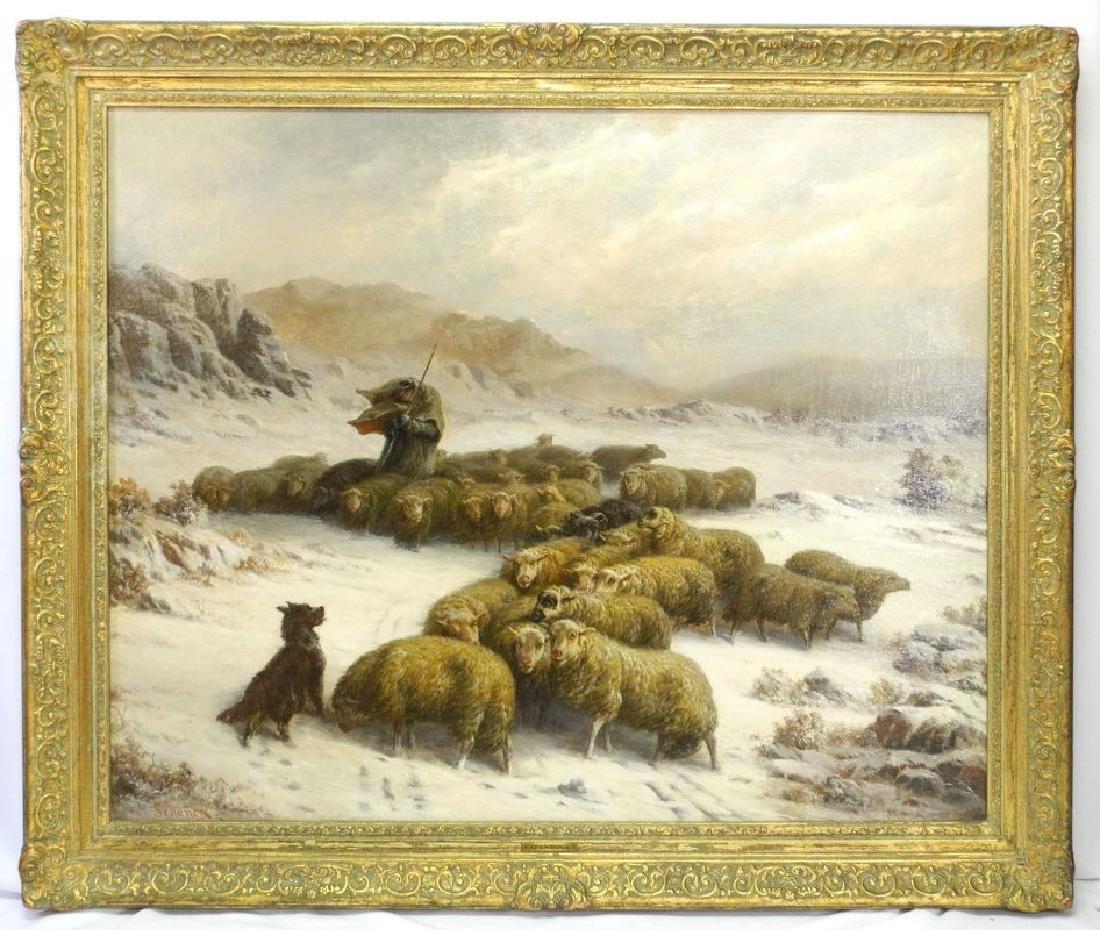 "Oil on canvas signed Schenck, 32"" x 39 1/2"", ""Shepherd"