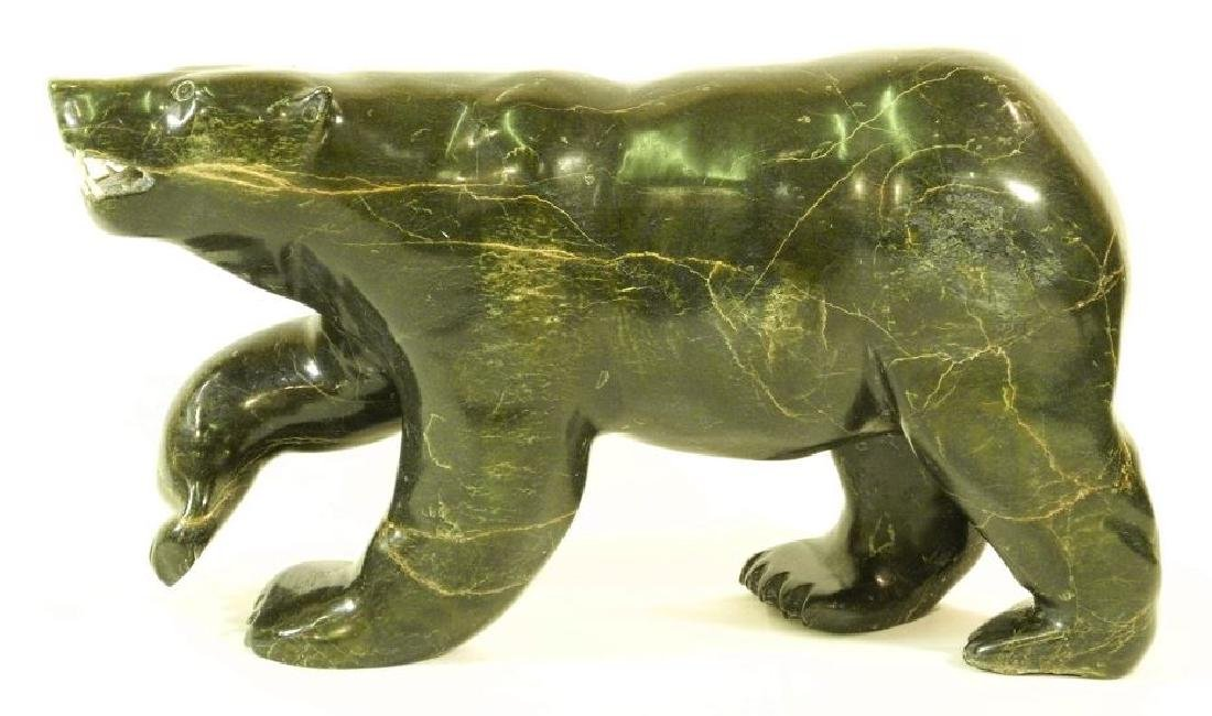 Large Inuit soapstone carving of a walking polar bear,