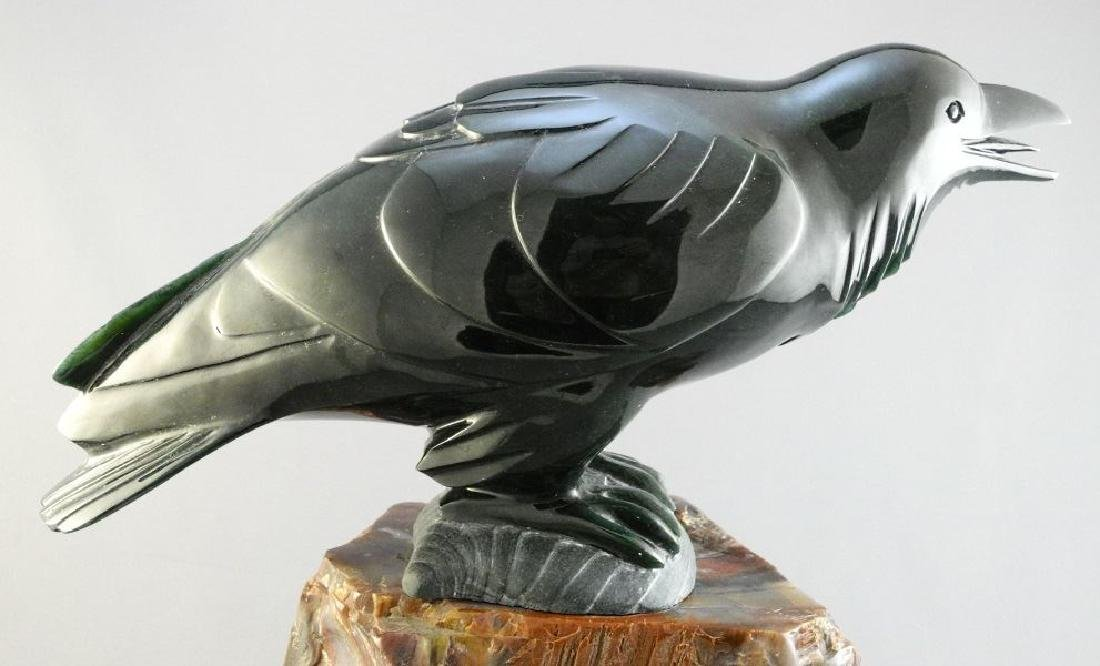 """Nephrite jade carving of a raven- Lyle Sopel, 13 1/2"""". - 2"""