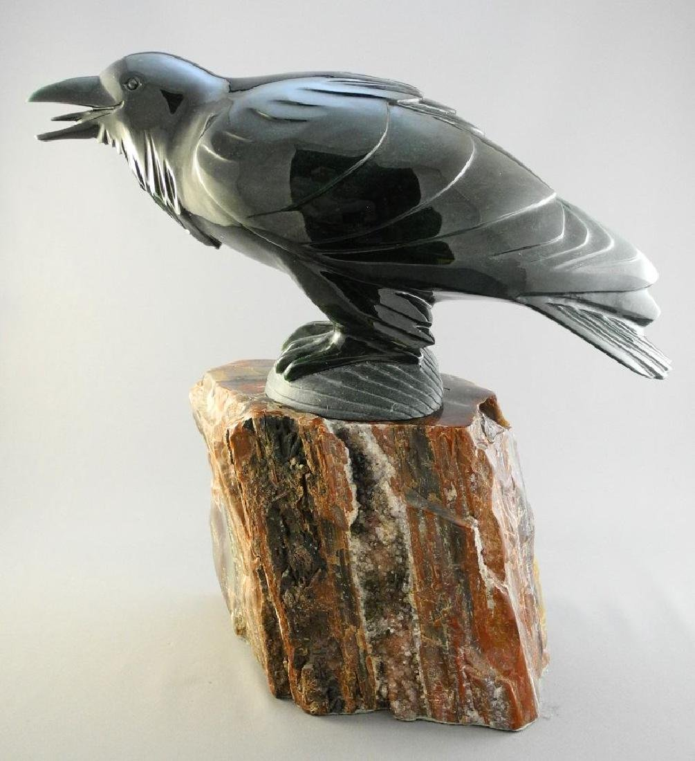 """Nephrite jade carving of a raven- Lyle Sopel, 13 1/2"""". - 3"""