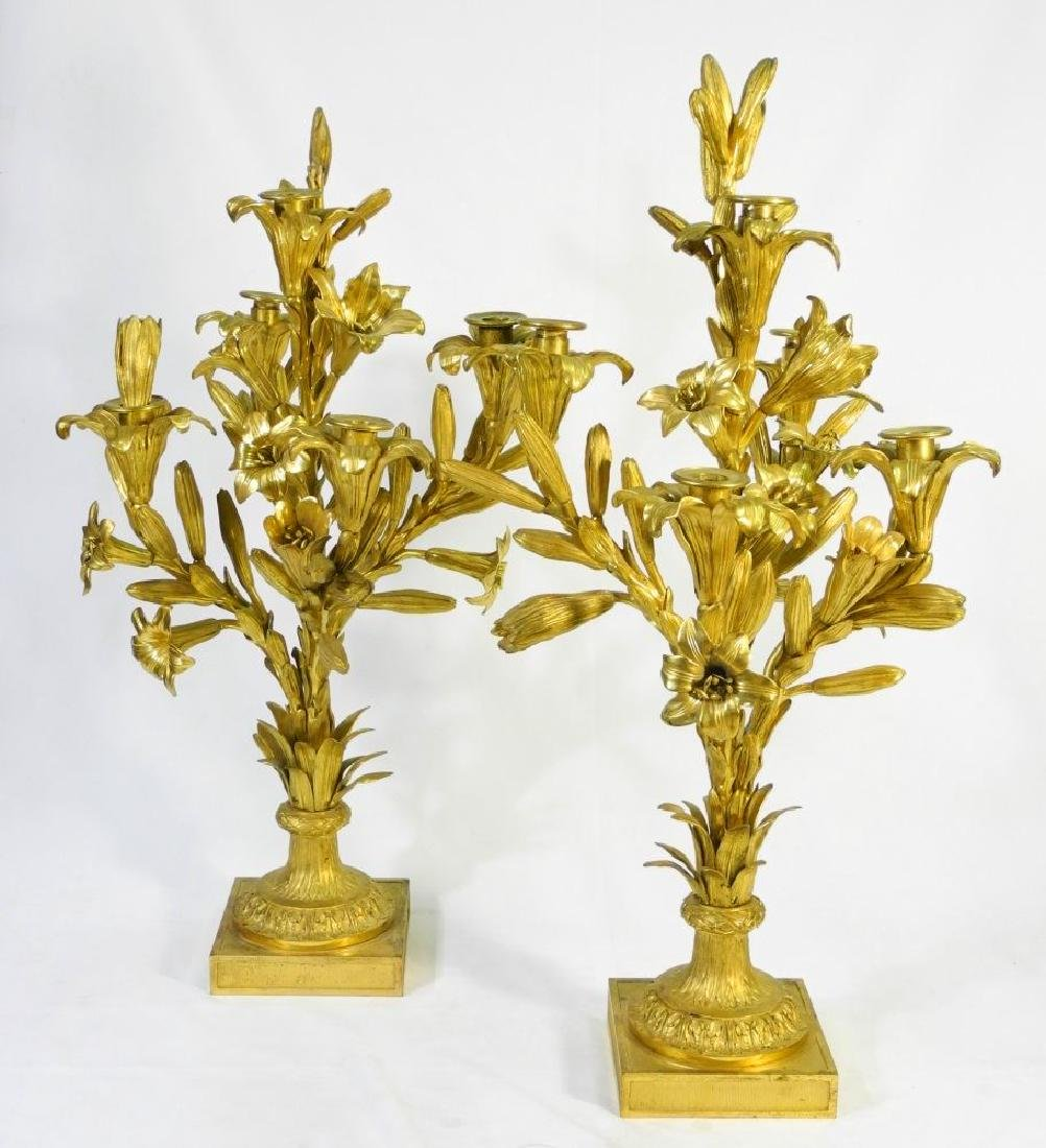 Very fine pair of lead and gilt candelabrum, approx.