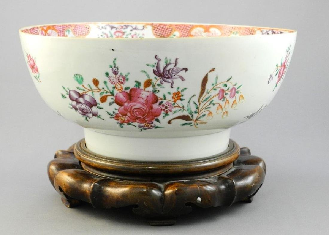"Chinese ""Famile Rose"" bowl with wooden stand, 10""."