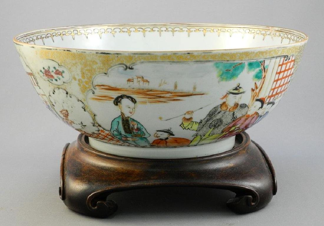 "Chinese ""Famille Rose"" bowl with wooden stand, 10 1/8""."