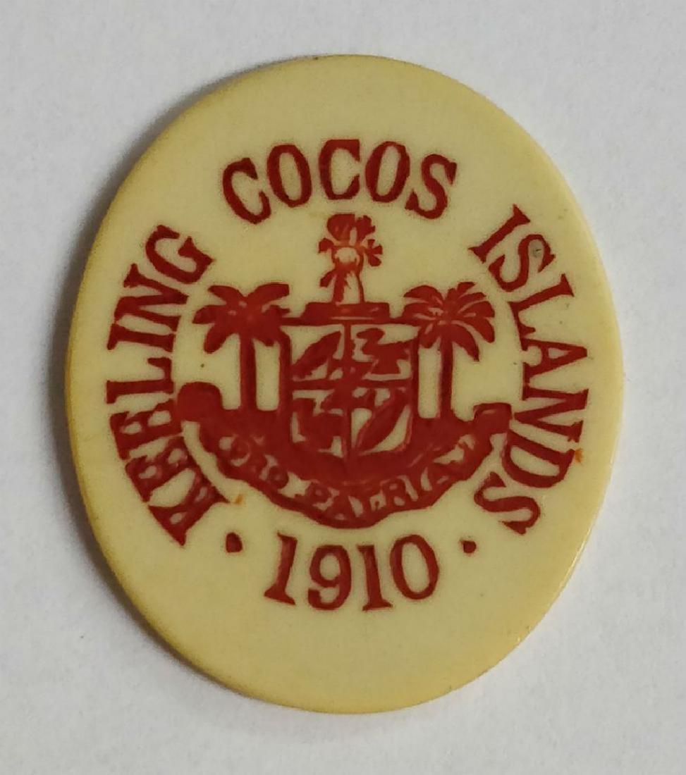Keeling Cocos Islands 5 cents oval Ivorine token, 1913.