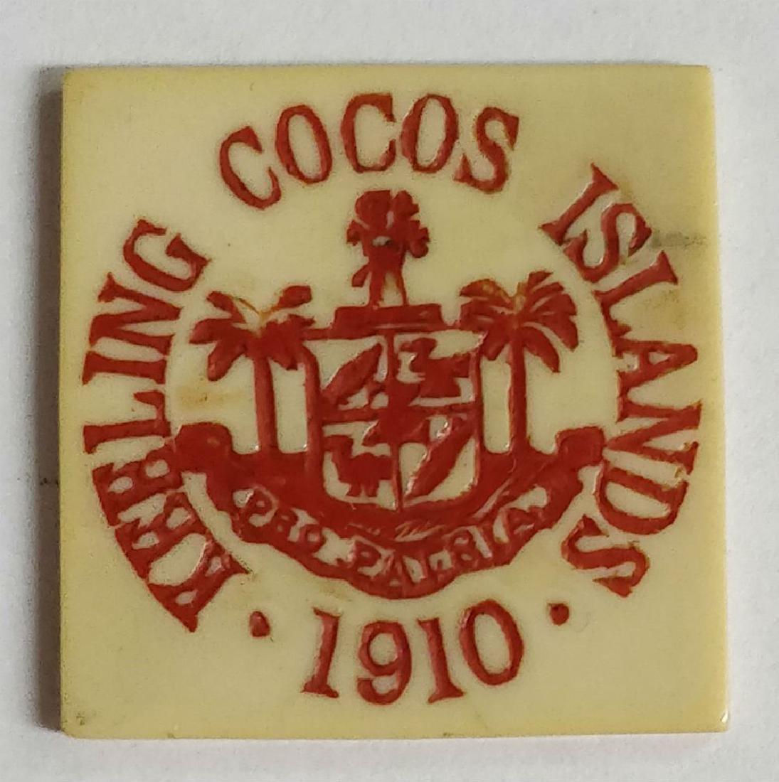 Keeling Cocos Islands 25 cents square Ivorine token.
