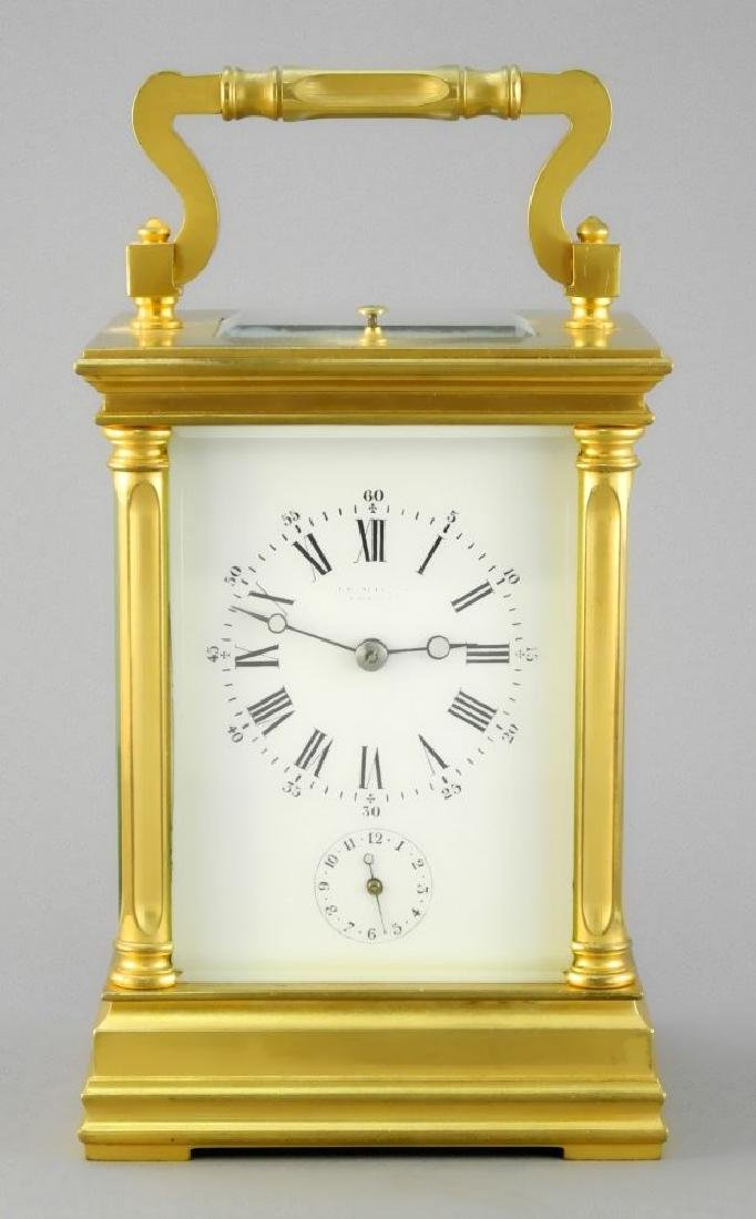 French gilt repeater carriage clock.