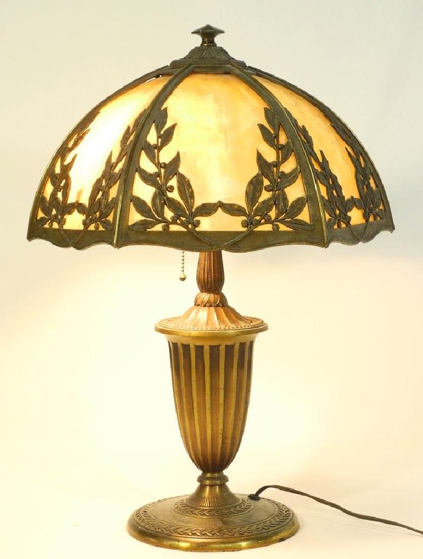 "Bradley & Hubbard art glass table lamp, 14"" shade."