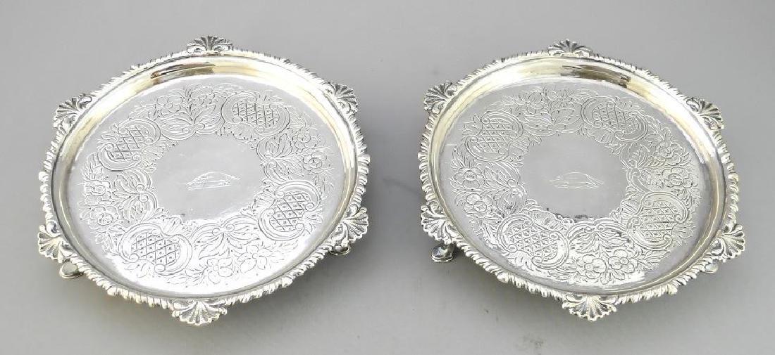 Pair of Hallmarked Irish salvers, WB c.1780- dia. 6