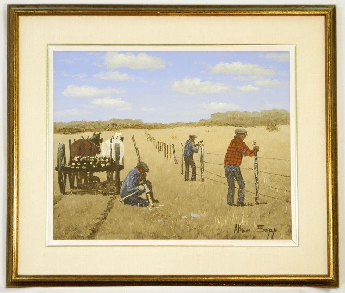 """Oil on canvas signed Allen Sapp, 16"""" x 20"""", """"Fixing the"""