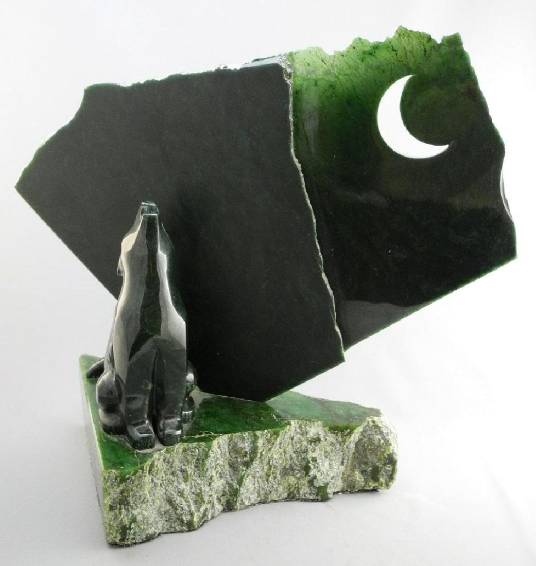 Nephrite jade carving of a howling wolf- Lyle Sopel,