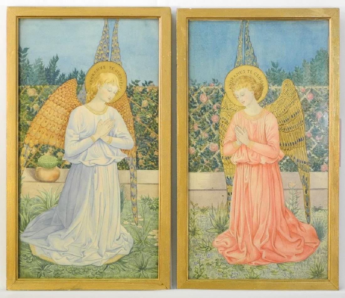 Pair of 19th century illuminated watercolours signed