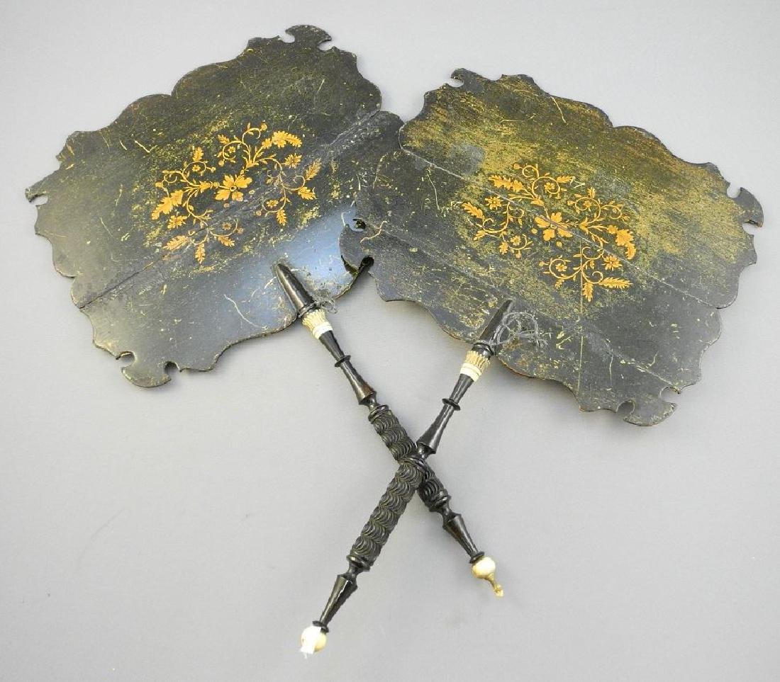 Pair of Georgian hand fans with turned ebony handles.