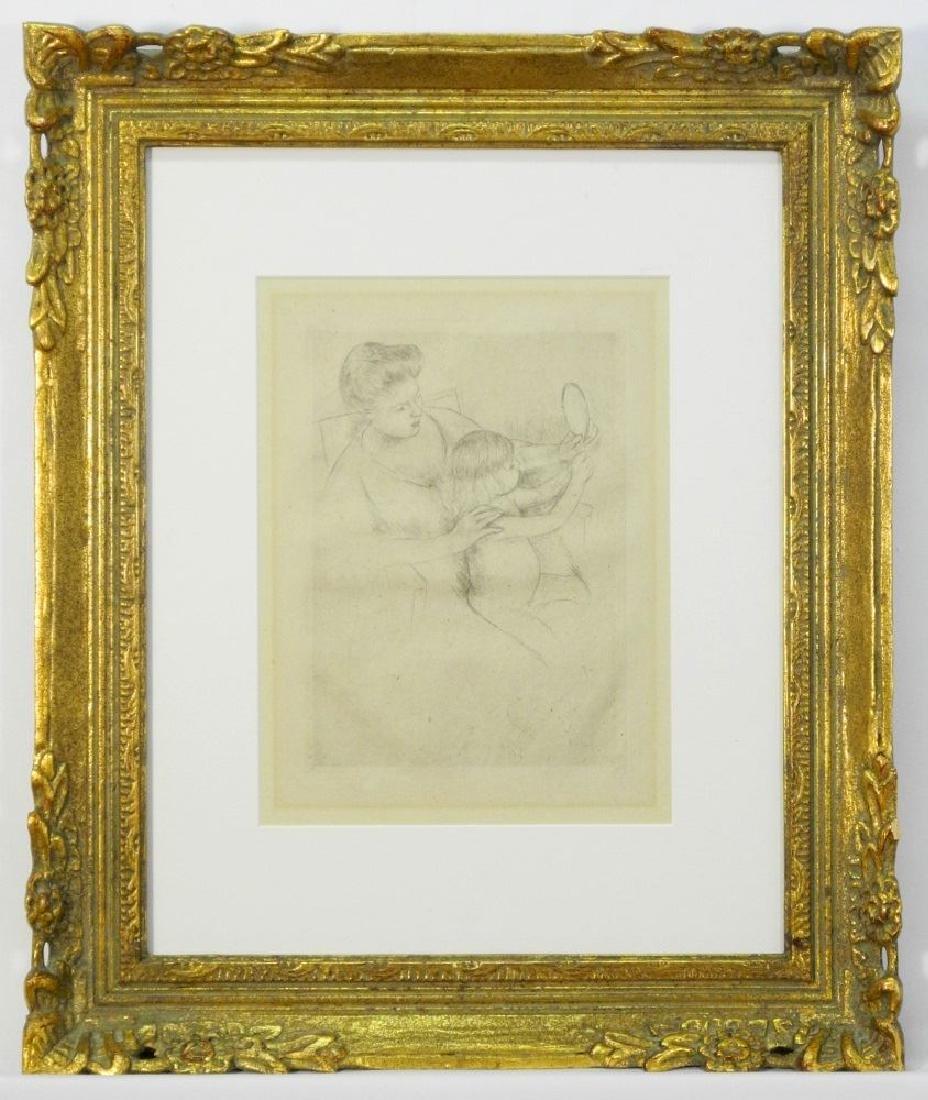 """Drypoint att. to Mary Cassatt, 9 3/4"""" x 7 1/4"""","""