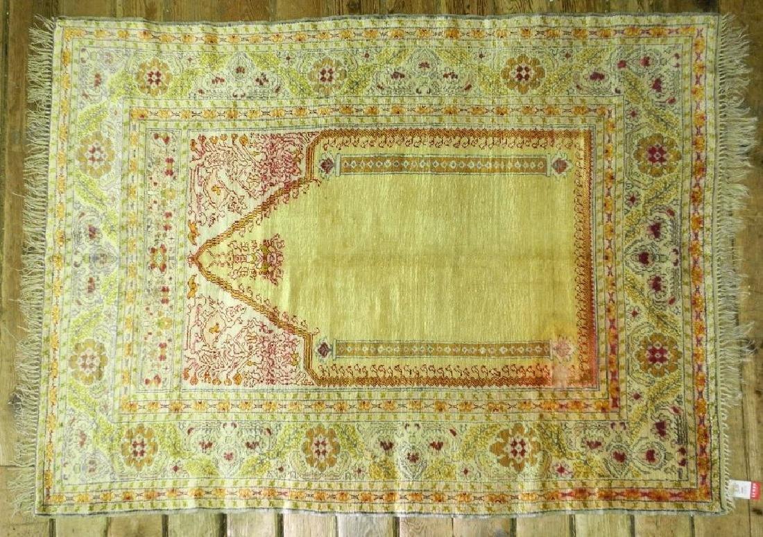 "Indian silk prayer rug, approx. 5'4"" x 4""."