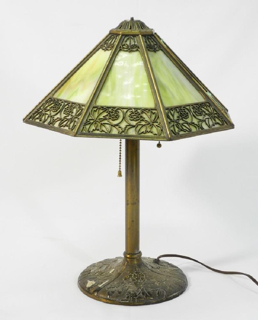 "Bradley & Hubbard art glass table lamp, 13"" shade."