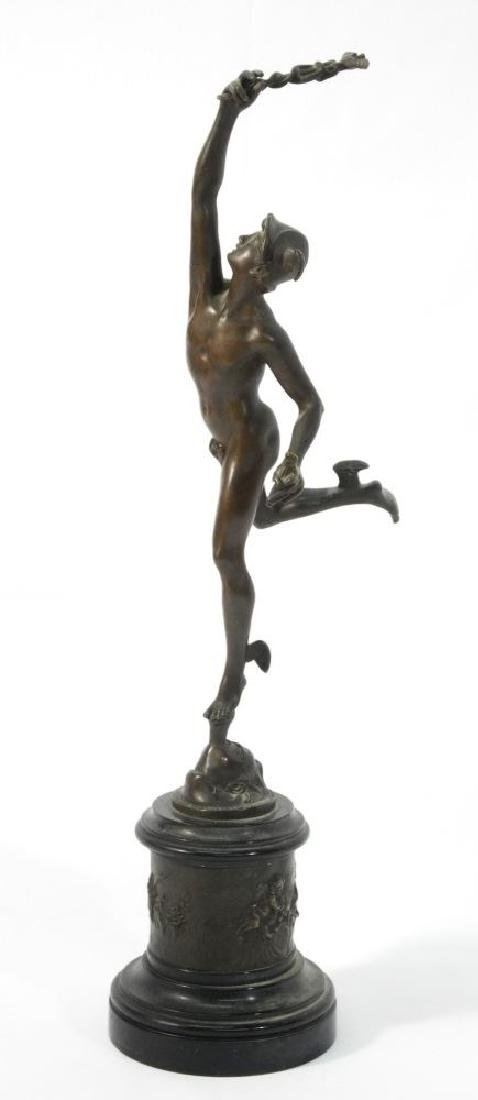 "Spelter figure of Mercury on marble base, 21 3/4""."