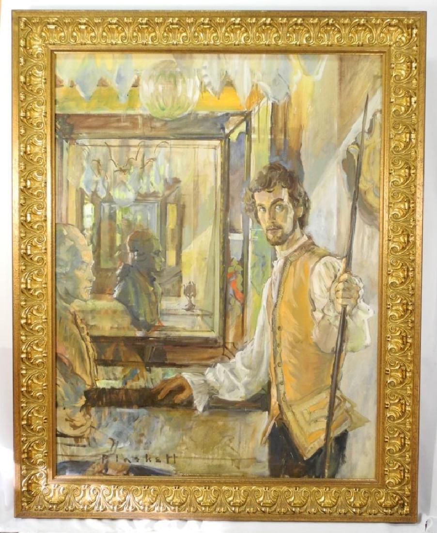 "Oil on canvas signed Plaskett (Joseph), 45 1/2"" x 35"","