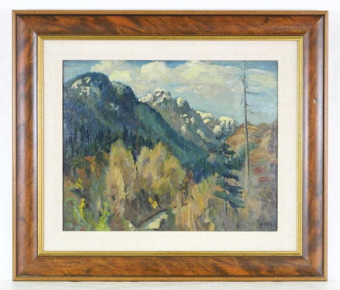 "Oil on board signed Varley, 12"" x 15"", ""Lynn Valley,"