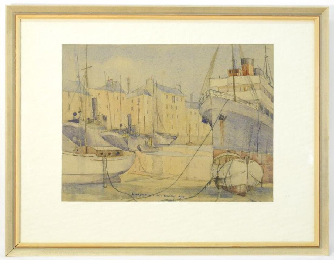 Watercolour signed Norman A.(Toni) Onley dated '47, 10