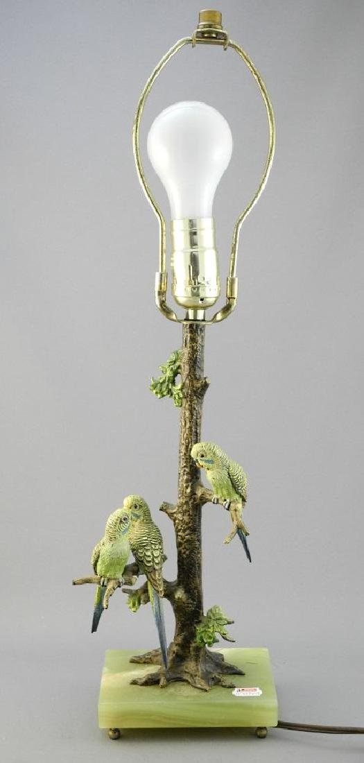 Cold painted bronze parrot decorated table lamp, 12