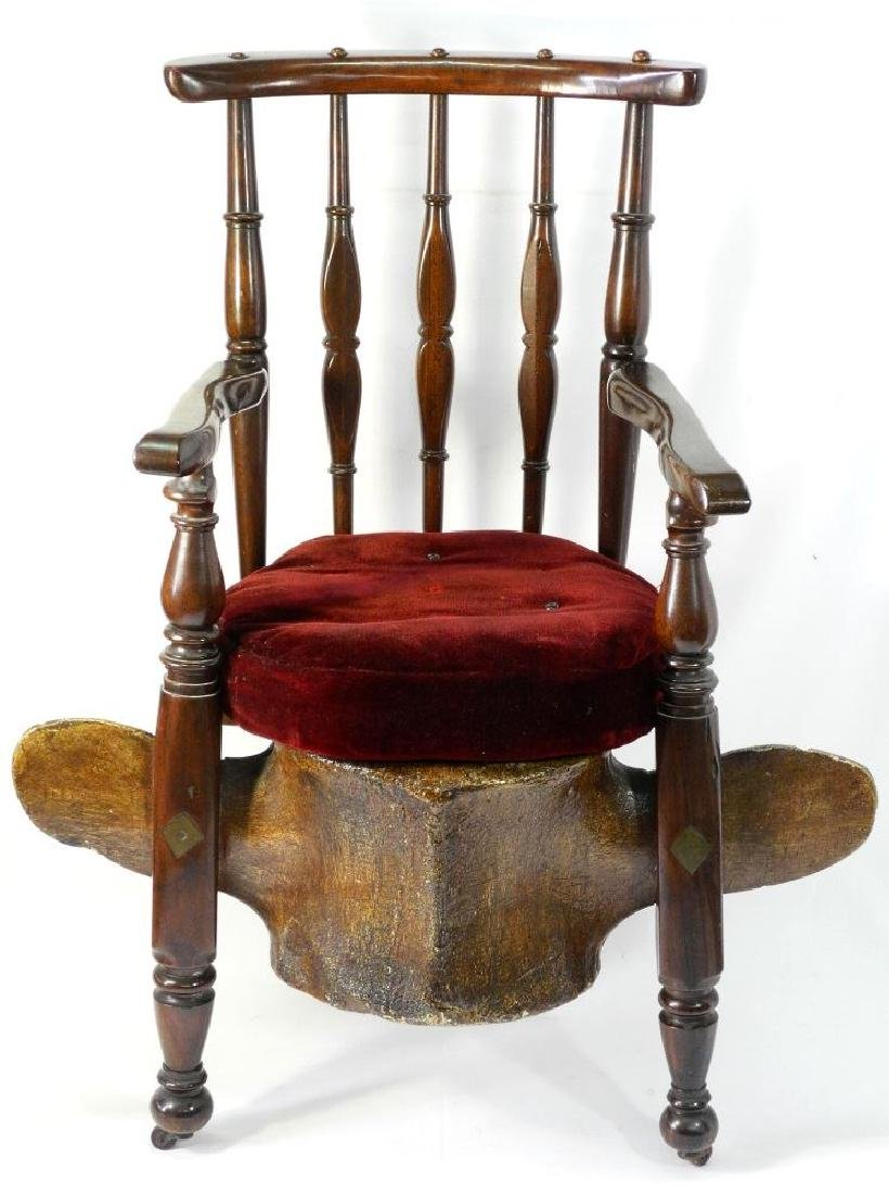 American 19th. century sea captain's chair with whale