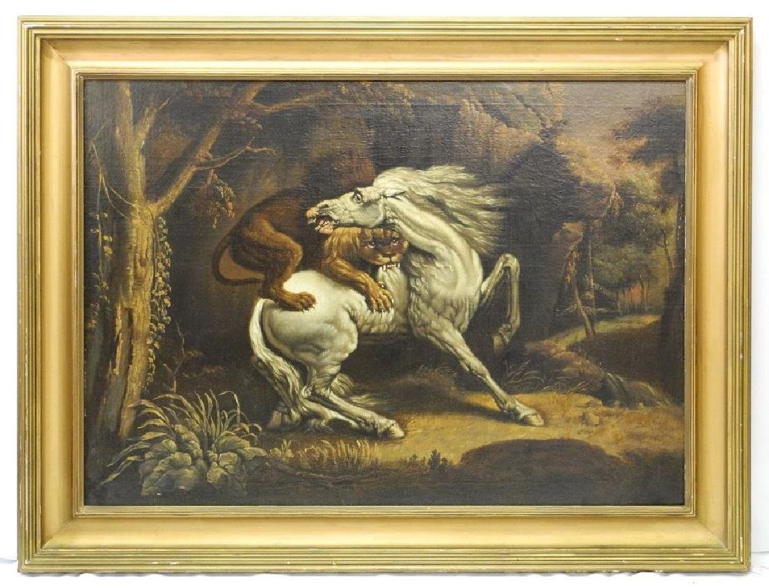 "Oil on board in the manner of George Stubbs, 27 1/4"" x"