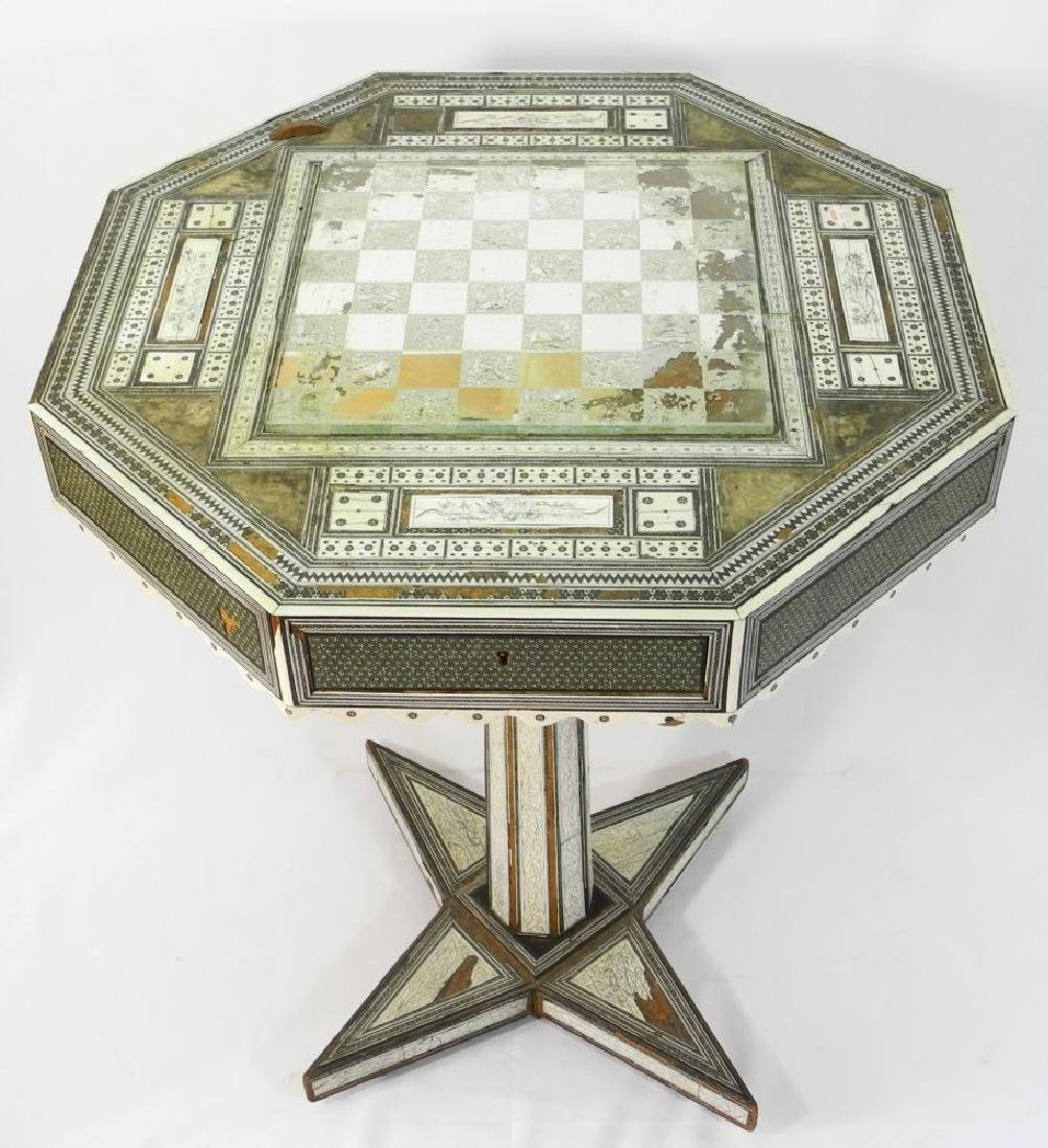Anglo-Indian Vizagapatam inlaid games table on stand. - 2