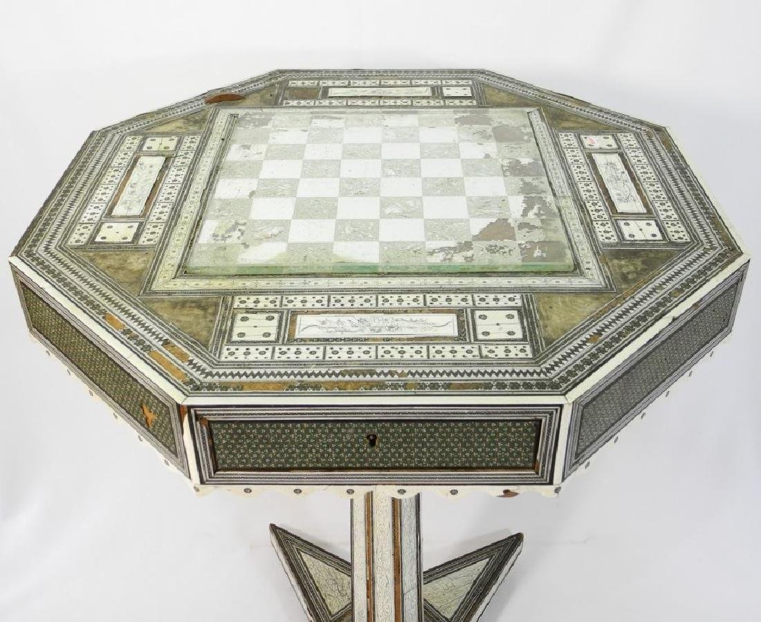 Anglo-Indian Vizagapatam inlaid games table on stand. - 3