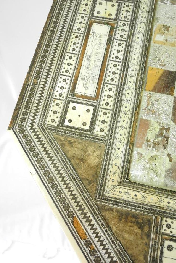 Anglo-Indian Vizagapatam inlaid games table on stand. - 4