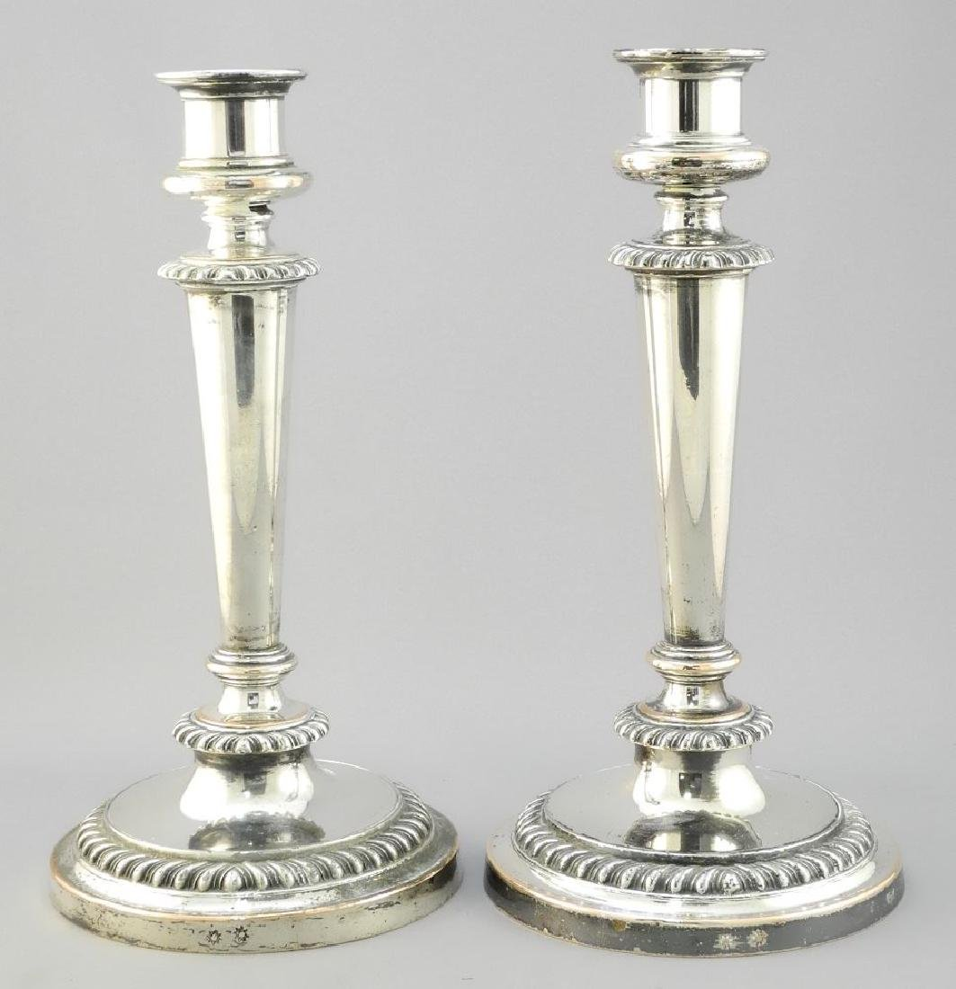 Pair of Sheffield plated weighted candlesticks with