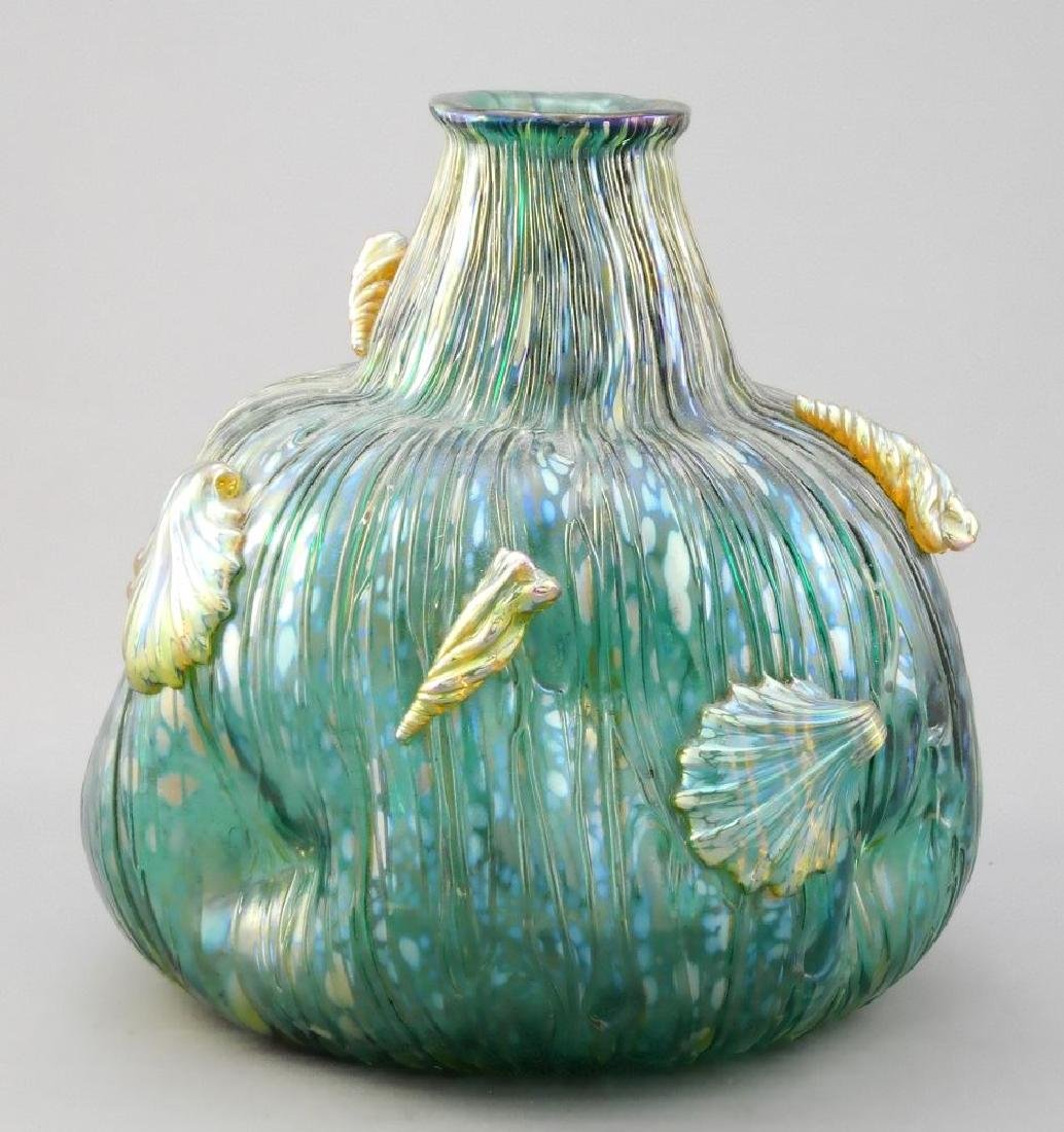 Irredescent art glass shell decorated vase- probably - 2