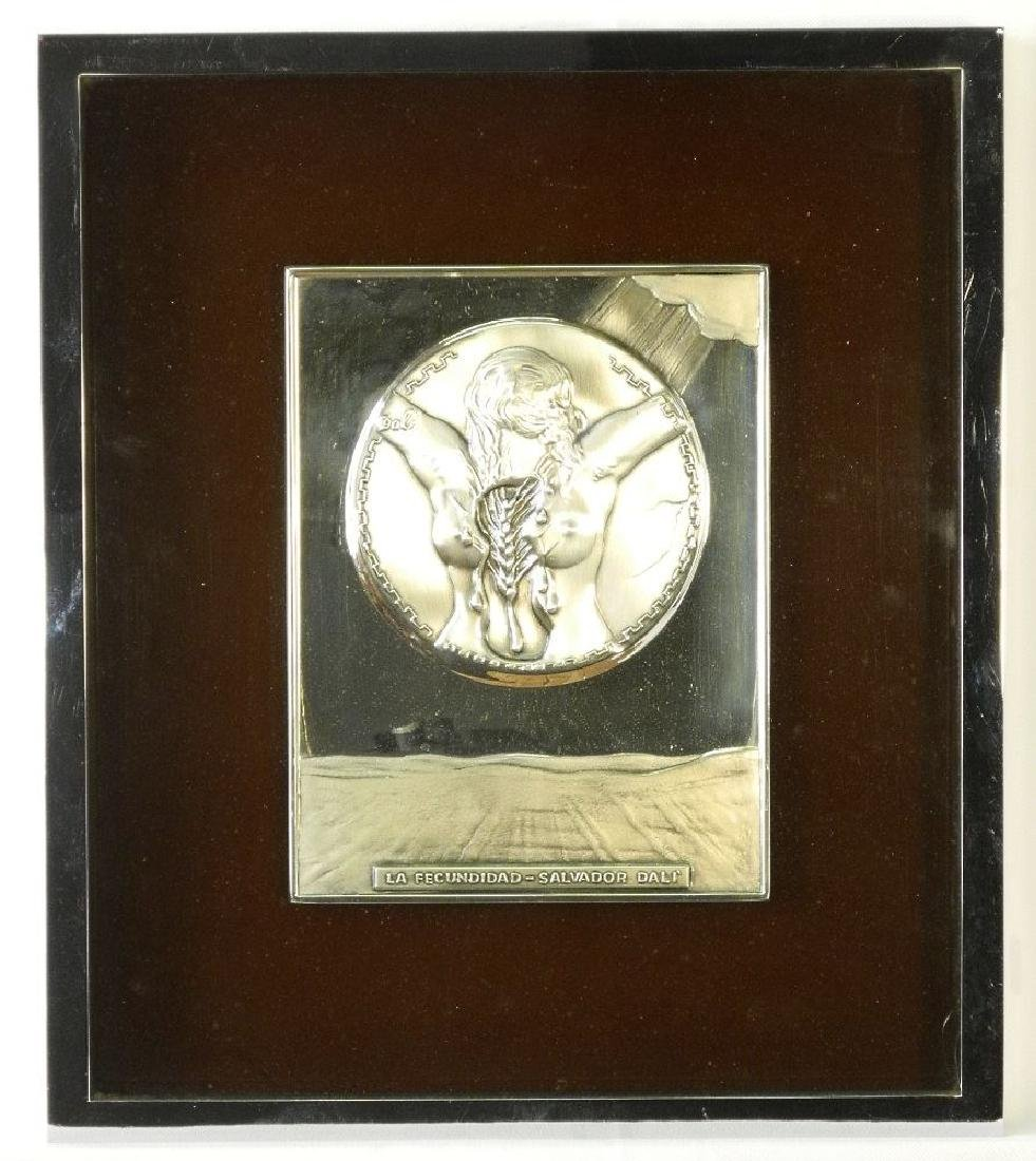 "Sterling silver plaque signed Dali, 8 1/2"" x 6 1/2"","